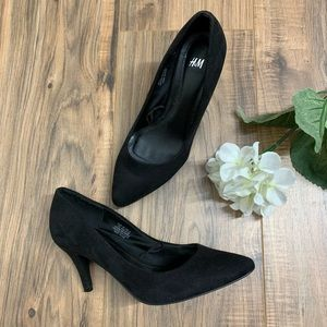 H&M Black Suede Heels Pumps